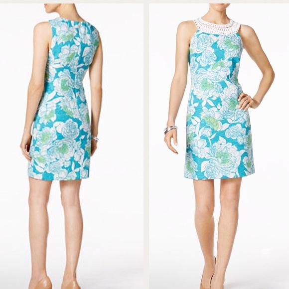 15016529e1 Jessica Howard Turquoise Green Floral Sheath Dress